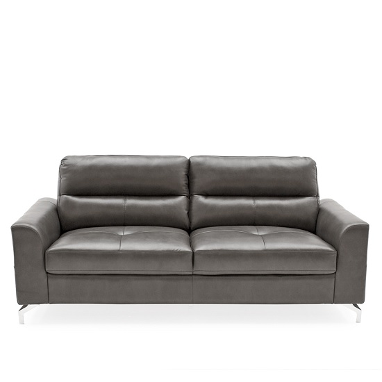 Healy 3 Seater Sofa In Grey Faux Leather With Chrome Legs