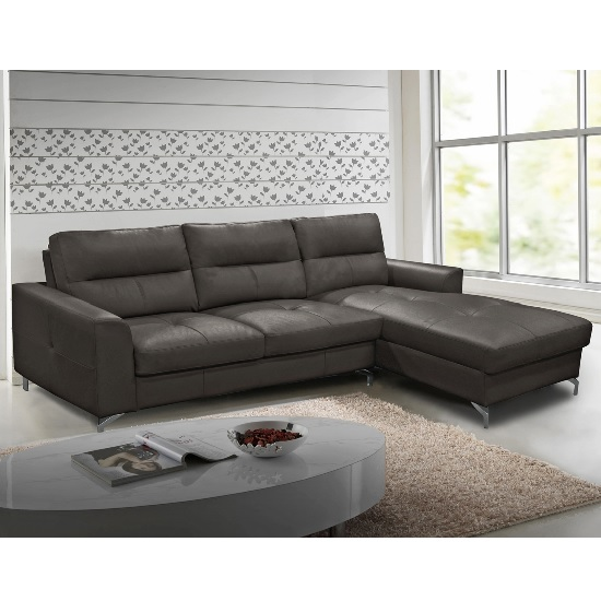 Image of Healy Right Corner Sofa In Grey Faux Leather With Chrome Legs