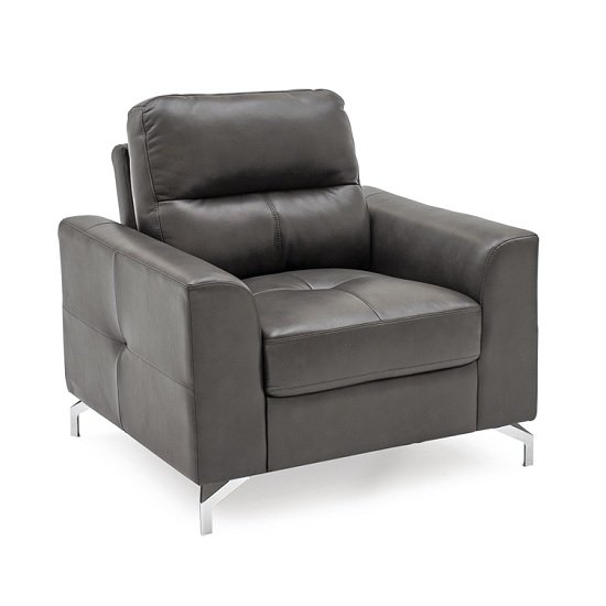 Image of Healy Sofa Chair In Grey Faux Leather With Chrome Legs