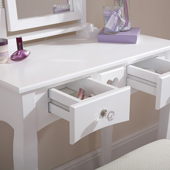 Heart Design Dressing Table Set In White_2