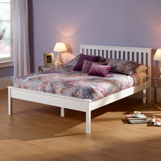 Heather Hevea Wooden King Size Bed In Opal White