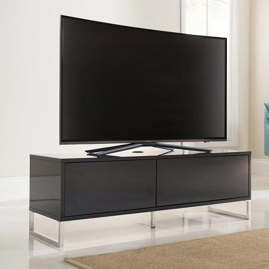 Heather TV Stand In Black Gloss With 1 Flip Door