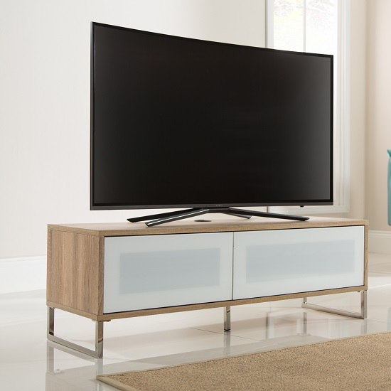 Heather TV Stand In Light Oak With Flip Down Door