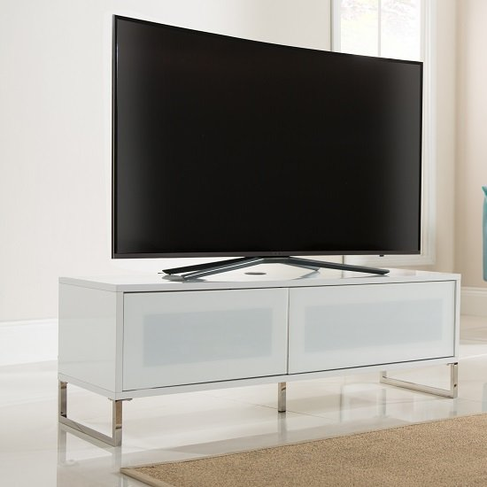 Heather TV Stand In White Gloss With Flip Down Door
