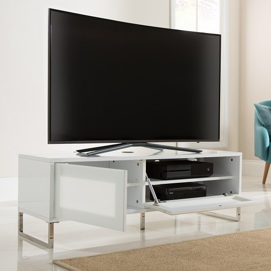 Heather TV Stand In White Gloss With Flip Down Door_2