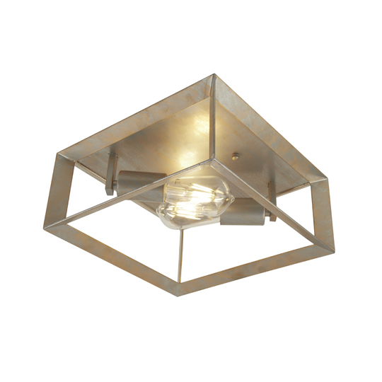 Heaton 2 Lights Flush Ceiling Light In Brushed Silver Gold