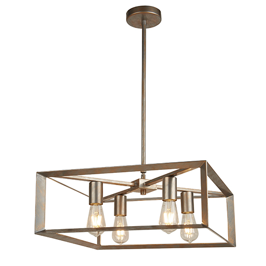 Heaton 4 Lights Pendant Ceiling Light In Brushed Silver Gold