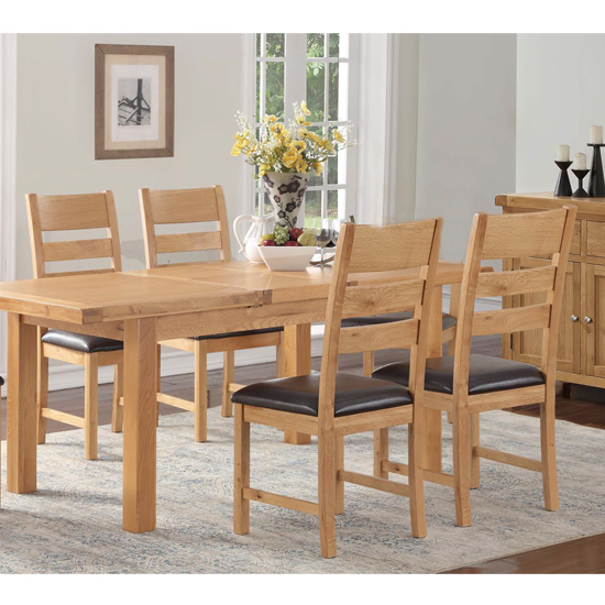Heaton Extending Dining Set In Rustic Light Oak With 4 Chairs_1
