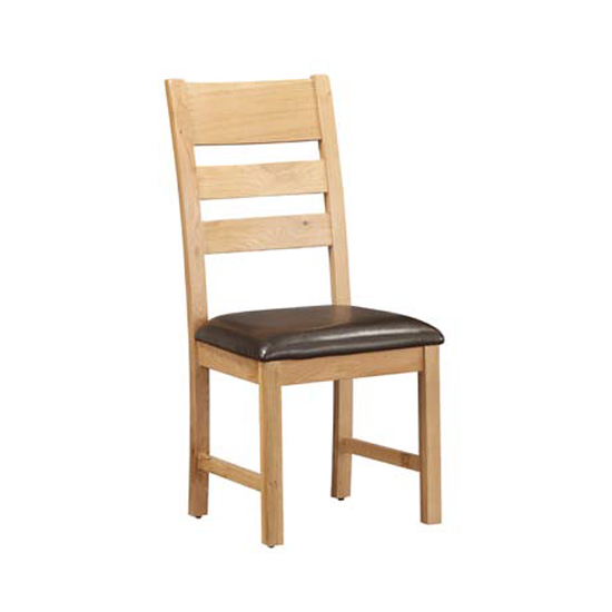 Heaton Ladder Back Dining Chair In Rustic Light Oak