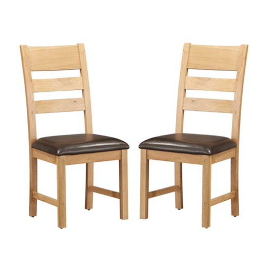 Heaton Ladder Back Rustic Light Oak Dining Chair In Pair_1