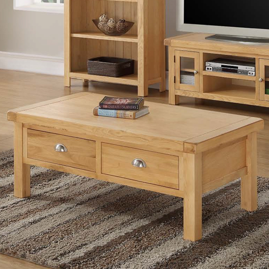 Heaton Large Coffee Table In Rustic Light Oak With 2 Drawers