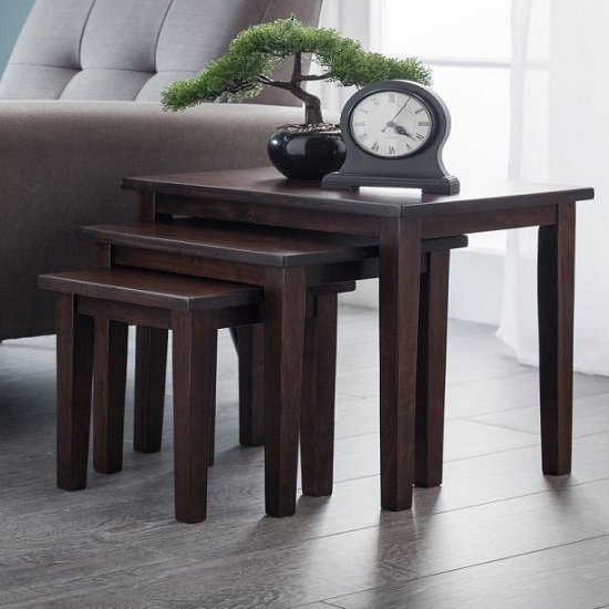 Heaton Wooden Set Of 3 Nest of Tables In Mahogany