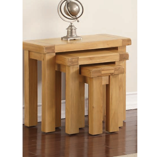 Heaton Set Of 3 Nesting Tables In Rustic Light Oak