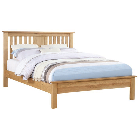 Product photograph showing Heaton Wooden Low End King Size Bed In Oak