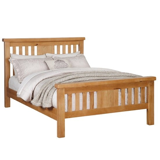 Heaton Wooden Double Bed In Solid Oak
