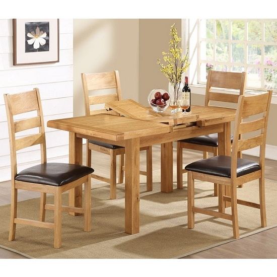 Heaton Wooden Extendable Dining Set In Solid Oak With 4 Chairs