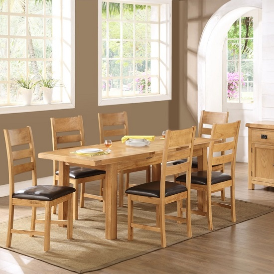 Heaton Extendable Dining Set Large In Solid Oak With 6 Chairs