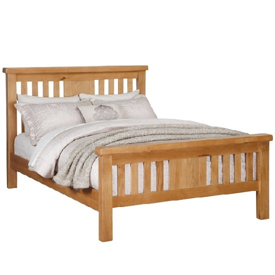 Heaton Wooden King Size Bed In Solid Oak