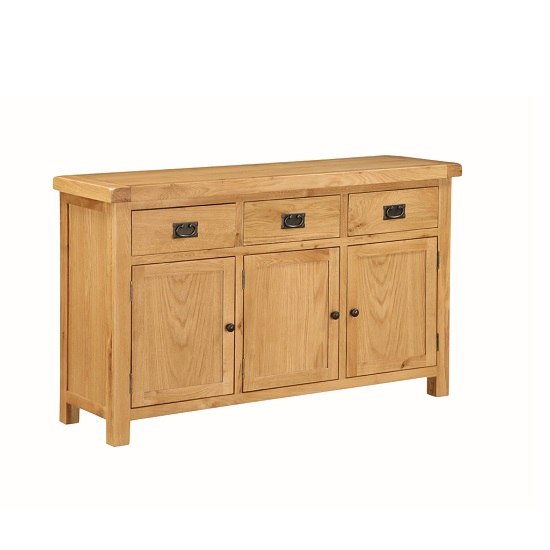 Heaton Wooden Sideboard In Solid Oak With 3 Doors And 3 Drawers