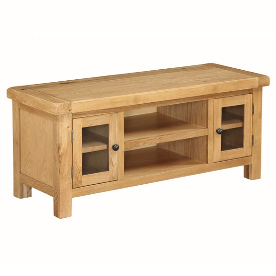 Heaton Wooden Large TV Stand In Solid Oak With 2 Doors