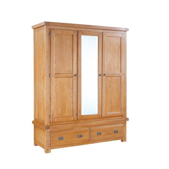 Heaton Wooden Mirror Wardrobe In Solid Oak With 3 Doors