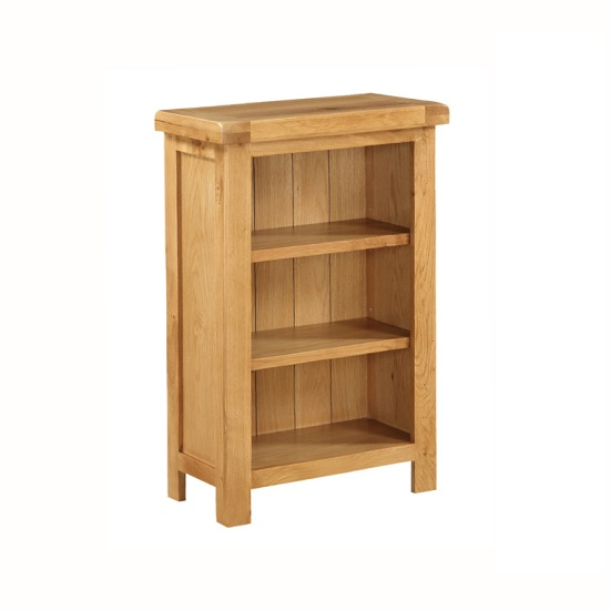 Heaton Wooden Low Slim Bookcase In Solid Oak With 3