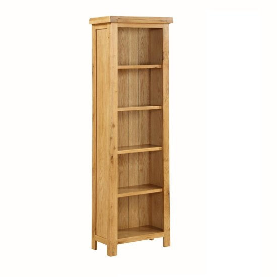 Heaton Wooden Tall Slim Bookcase In Solid Oak With 5 Compartment