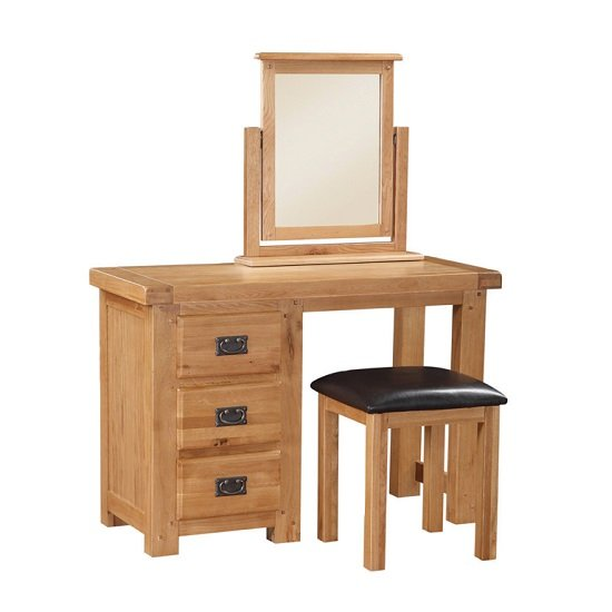 Heaton Wooden Dressing Table Set In Solid Oak