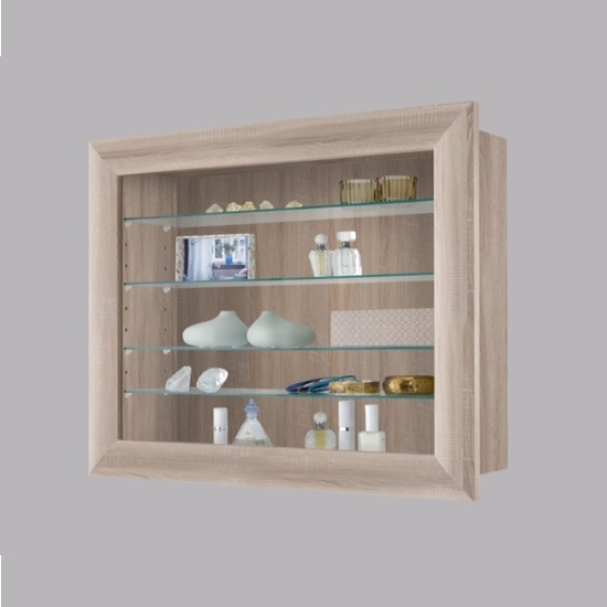 Heaven Wall Mounted Gl Display Cabinet In Canadian Oak Click To Enlarge