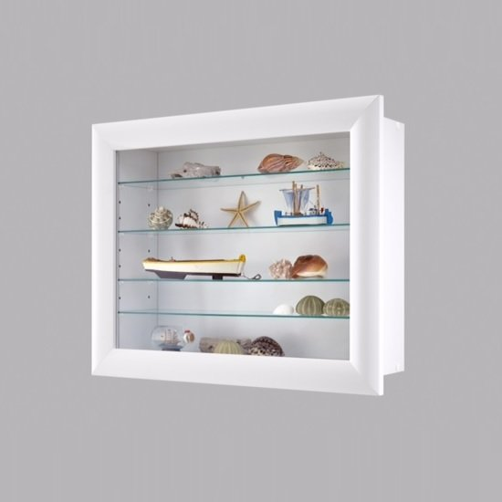 heaven wall mounted glass display cabinet in white