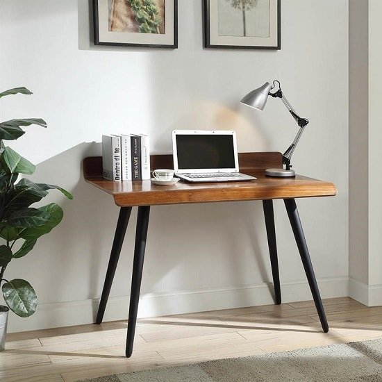 Hector Wooden Computer Desk Rectangular In Walnut With Dark Legs