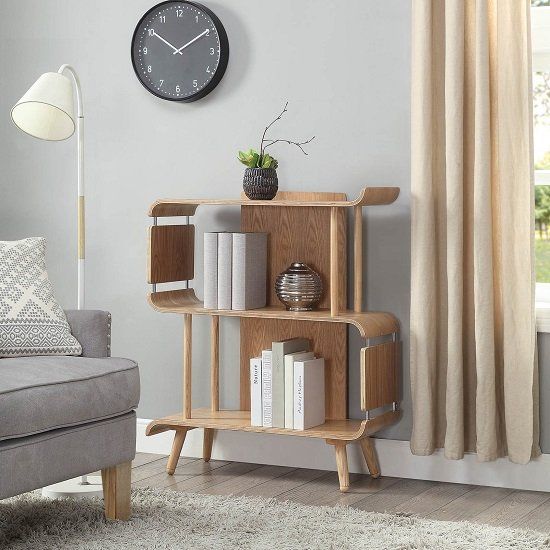 Hector Contemporary Wooden Bookcase In Ashwood