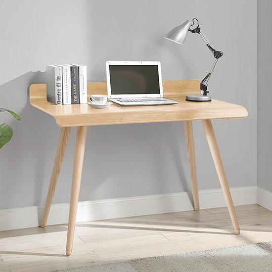 View Hector rectangular small wooden computer desk in oak