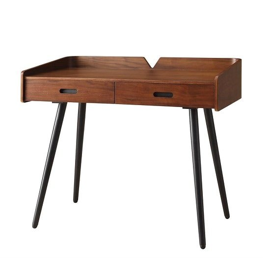 Hector Wooden Computer Desk In Walnut With 2 Drawers_2