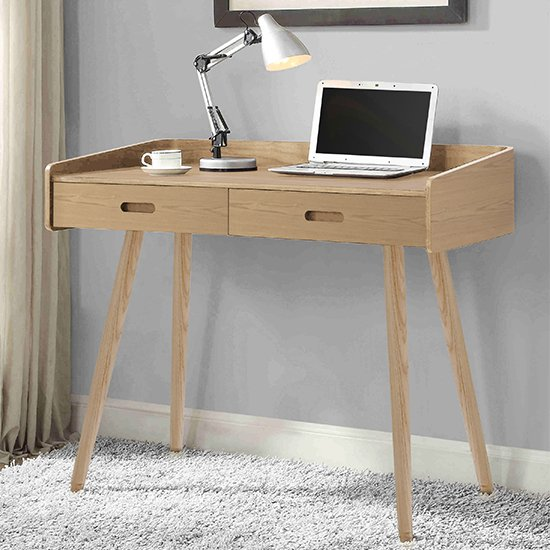 View Hector wooden computer desk in oak with 2 drawers