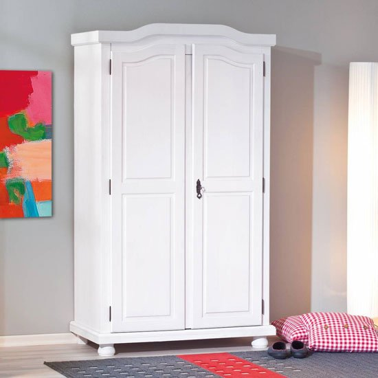 Hedda FSC Wooden Wardrobe In White With 2 Doors