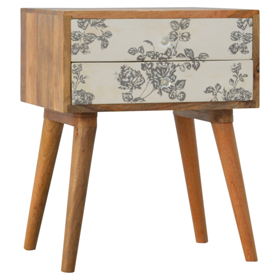 View Hedley wooden bedside cabinet in black floral screen printed