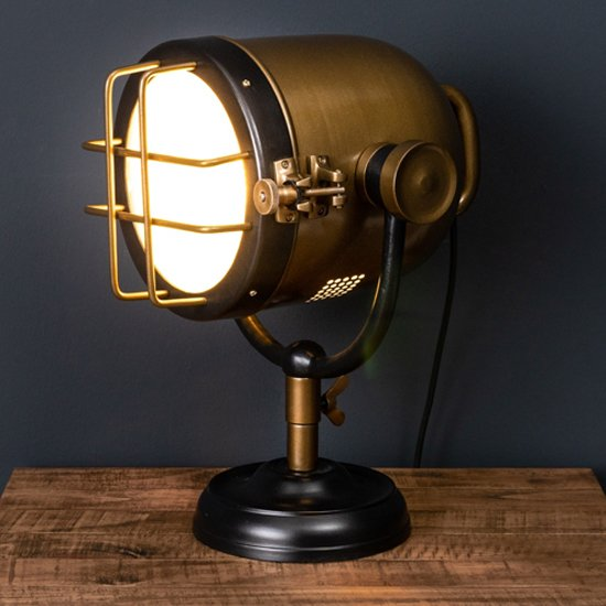 View Hegira industrial spotlight table lamp in black and brass
