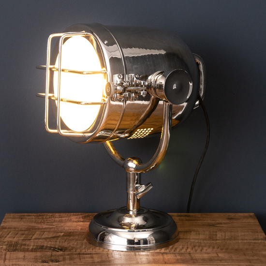 View Hegira industrial spotlight table lamp in silver