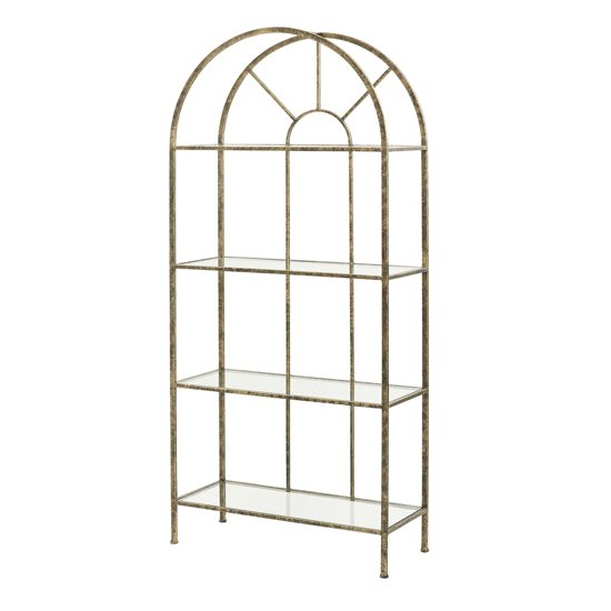 Heidi Glass Shelving Unit In Antique Gold Metal Frame
