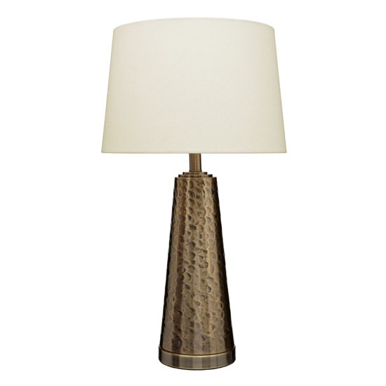 Heko Cream Fabric Shade Table Lamp With Brass Metal Base