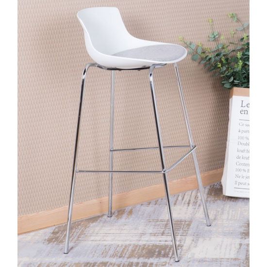 Helena Barstool In White With Fabric Seat And Chrome frame