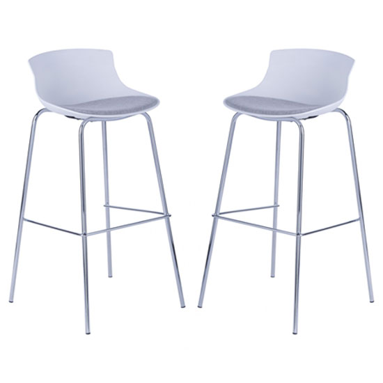 Helena White Barstool With Fabric Seat And Chrome frame In Pair