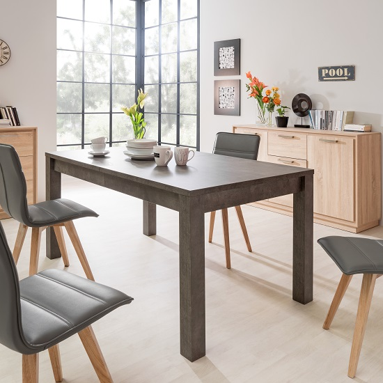 Helena Wooden Extendable Dining Table In Dark Concrete