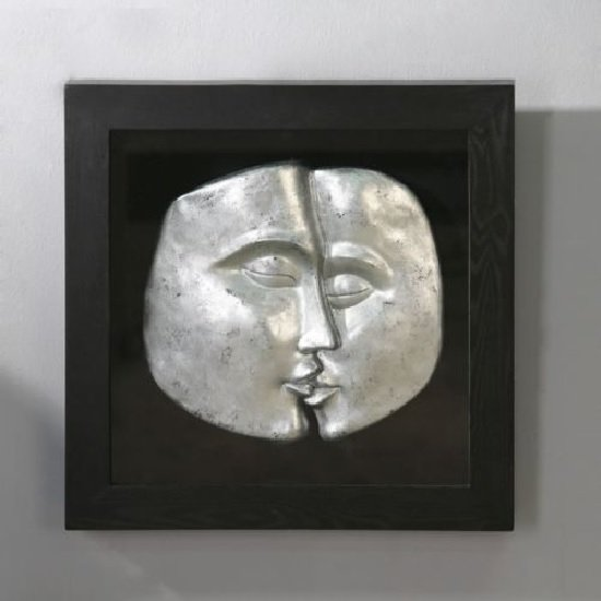 Read more about Helena faces wall art square in silver and black
