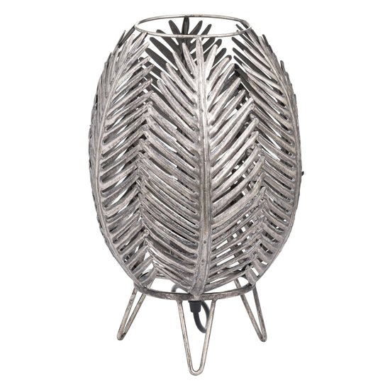 Helga Metal Palm Closed Leaf Table Lamp In Antique Silver