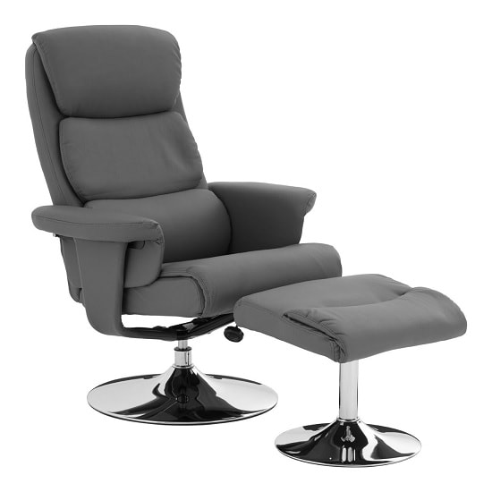 Heligan Recliner Chair With Foot Stool In Grey Faux Leather