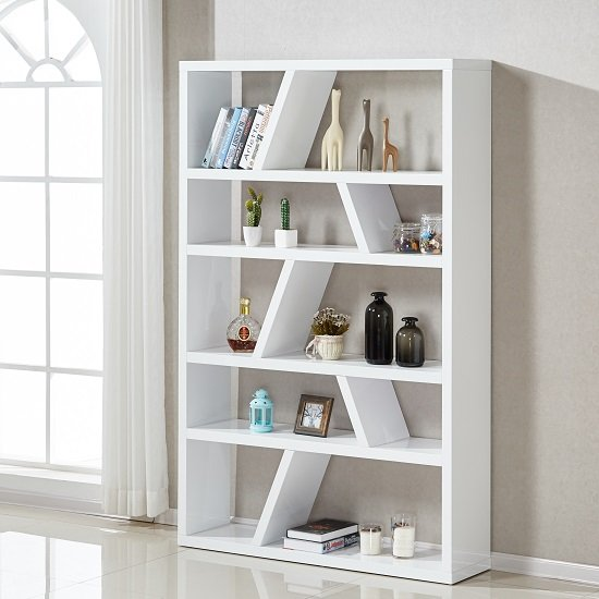 Helix Contemporary Bookcase Or Shelving Unit In White High