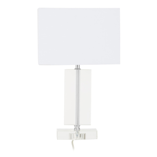 Helna White Fabric Shade Table Lamp With Silver Base
