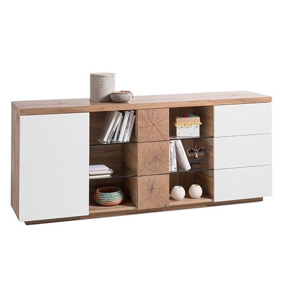 Helsinki Sideboard In Oak And White With 2 Doors 3 Drawers